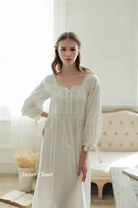 Sweet Princess Lace Vintage Nightgowns For Women White Long Sleepwear Sleep Dress Plus Size