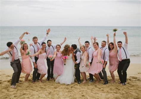 Beach Wedding Guys Wore Grey Pants, White Shirts, Black