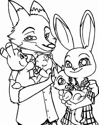 Fox Coloring Pages Cartoon Zootopia Printable Bunny