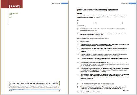partnership agreement template  ms word word document
