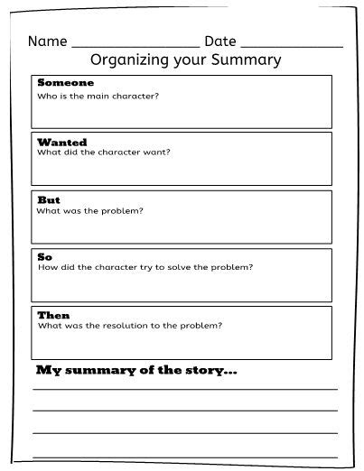 SWBST (Someone Wanted But So Then) graphic organizer. Use