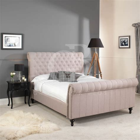 Chesterfield Upholstered Oatmeal Linen Bed Double King