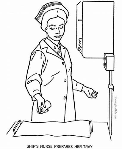 Nurse Coloring Pages Nurses Military Armed Forces