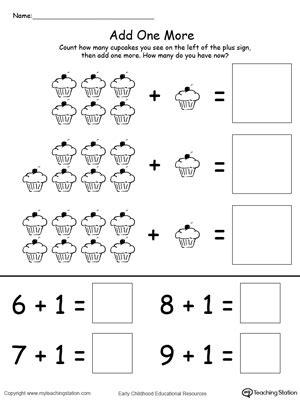 kindergarten addition printable worksheets 901 | Add One More CupCake Addition