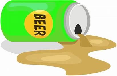 Spilled Beer Kaleng Clipart Cliparts Tumpah Bir
