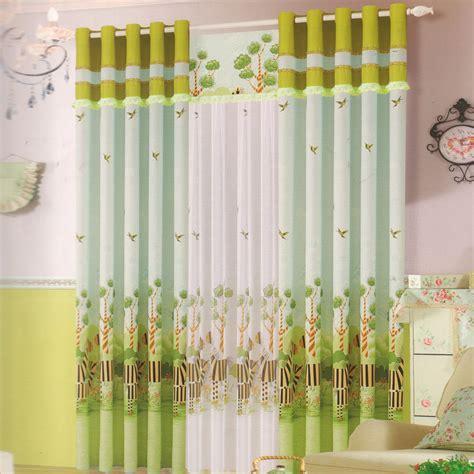 cute kid curtain cotton fabric light green color