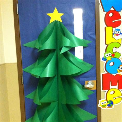 christmas tree door decoration   butcher paper