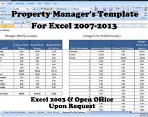 rental property management template long term rentals