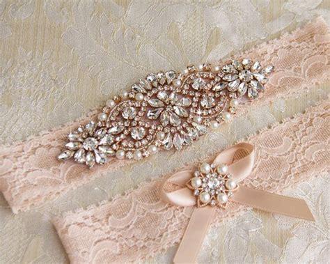 rose gold wedding garter set bridal garter set blush