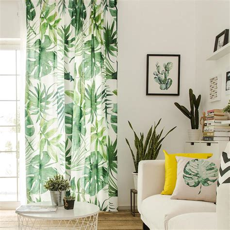 Hawaiian Curtains Drapes - drapes with tropical leaves