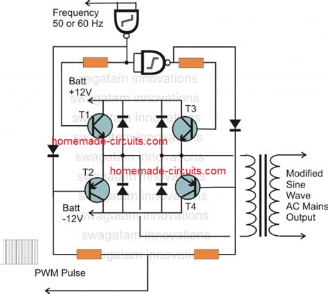 how to design a h bridge for modified sine wave inverters circuit projects