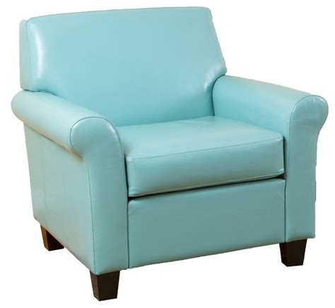 leather club chair teal blue transitional