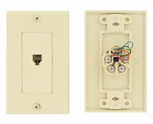 50 Leviton Ivory Decora 4 Wire Phone Jack  Plate Flush