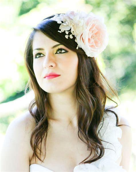 bridal hair accessories wedding headpiece pink flower