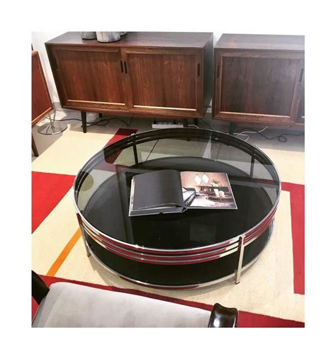 18h x 43l x 24w asking $80 pick up in richmond hill thanks. Contemporary Round Tempered Glass Coffee Table with Polished Steel Frame For Sale at 1stdibs