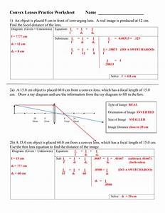 Thin Lens Equation Worksheet