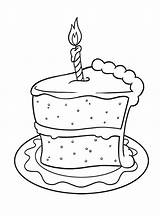Cake Coloring Birthday Pages Slice Happy Adult Cookies Cakes Printable Template Sketch Spanish Drawing Cookie Templates Cards Animal Sheets Getcolorings sketch template