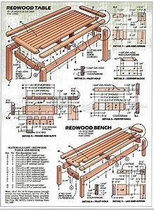 Outdoor Table and Bench Plans • WoodArchivist