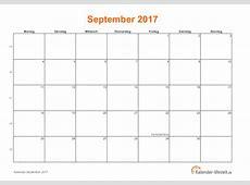 September 2017 Kalender mit Feiertagen