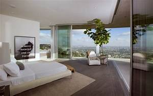 Modern Bedroom with Large Sliding Door and View Interior