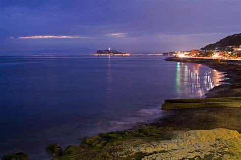 night view  yuigahama beach photograph  photography