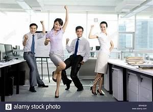 Cheering office workers Stock Photo, Royalty Free Image ...