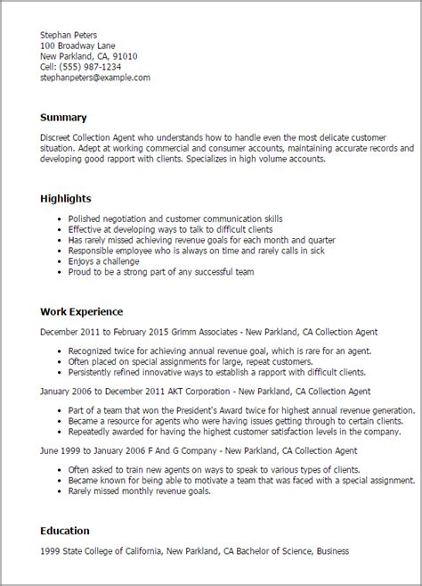 collections manager resume objective collections resume objective