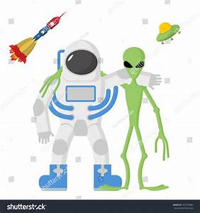 Astronaut Alien Friends On White Background Stock ...