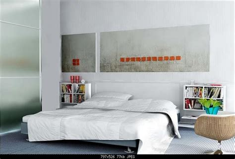 simple style bedroom design pure white  model