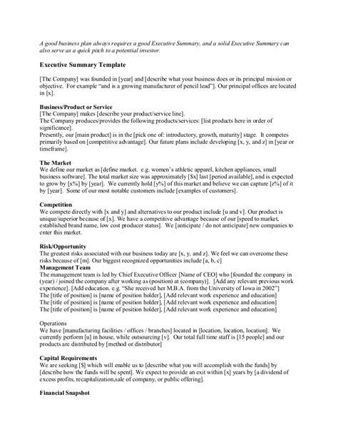 Startup Executive Summary - template