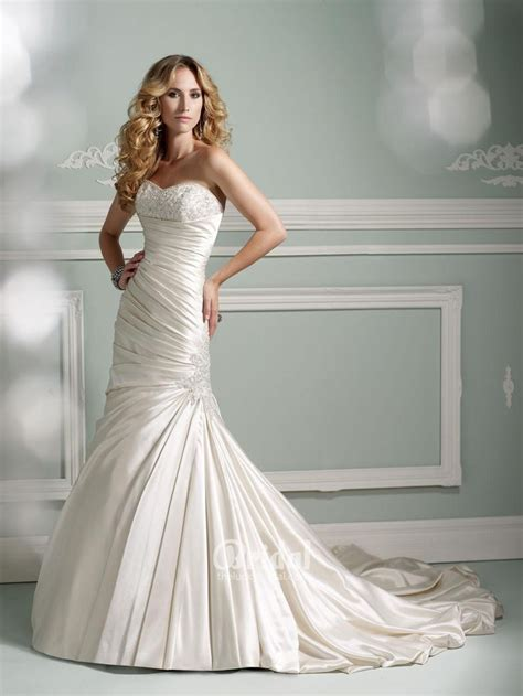 Gorgeous Beaded Satin Dropped Waistline Mermaid Bridal