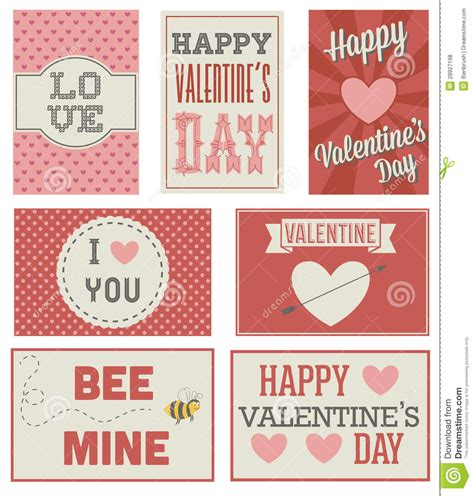 vintage  modern valentines day cards stock vector