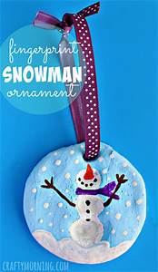 Fingerprint Snowman Salt Dough Christmas Ornament - Crafty ...