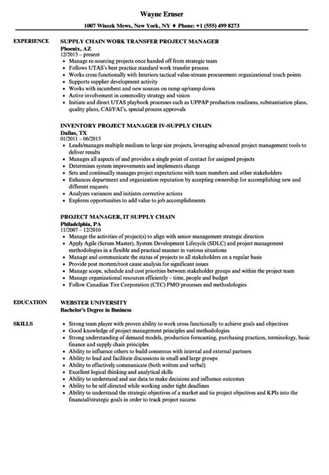 Supply Chain Project Manager Resume by Project Supply Chain Manager Resume Sles Velvet