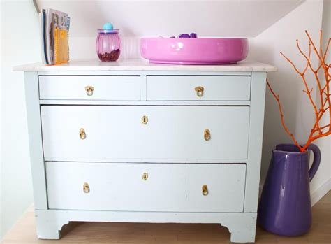 Old Dresser Spray Painted In Light Blue