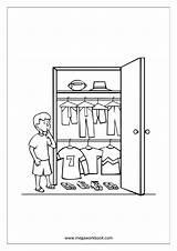 Coloring Wardrobe Template Armoires Wardrobes Sheet Kid Near sketch template