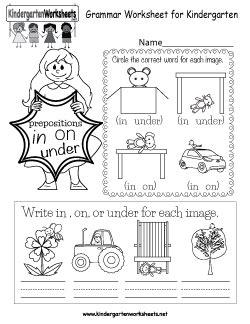 english grammar worksheets  kindergarten