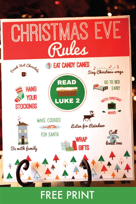 free quot christmas eve rules quot print the red headed hostess