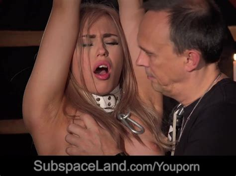 Bondage Porn For Busty Slave Performing Oral Sex Under