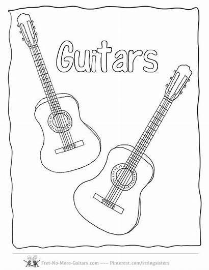 Guitar Pages Coloring Acoustic Guitars Activities Printable