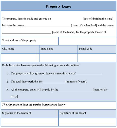 lease a editable property rental lease template sle with blue