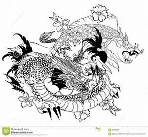 Demon Japonais Dessin : poissons tir s par la main de dragon et de koi avec le tatouage de fleur pour le bras japonais ~ Maxctalentgroup.com Avis de Voitures