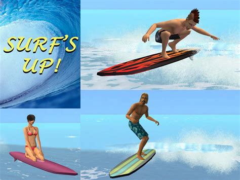 mod the sims quot surf 39 s up quot new surfing interaction and set
