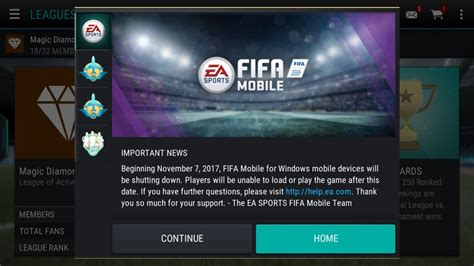 fifa mobile for windows phones is no longer supported as of november 7 windows central
