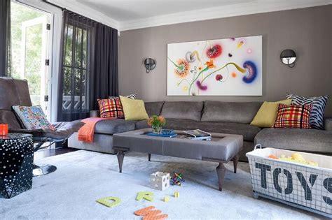 gray family room  gray  shaped sectional