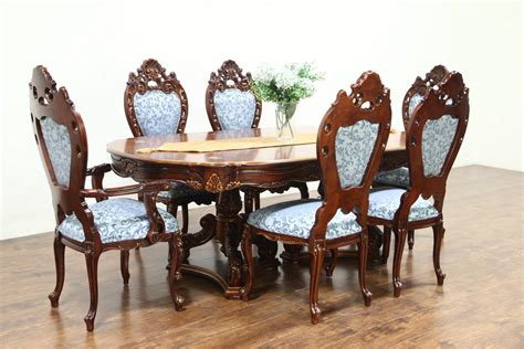 baroque carved cherry vintage dining set table  chairs