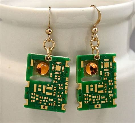 Recycled Gold Circuit Board Earrings Midas Touch