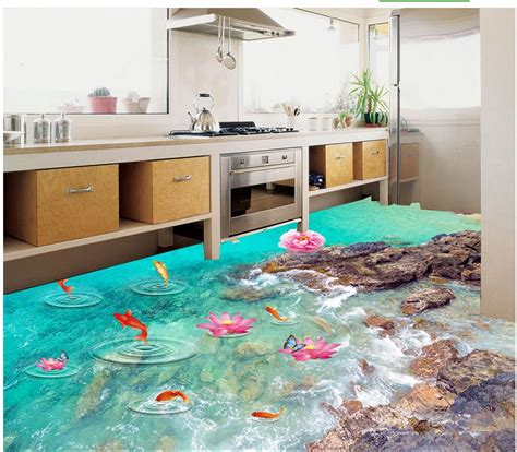 photo floor wallpaper  stereoscopic lotus river  floor