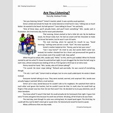 Reading Comprehension Worksheet  Are You Listening?