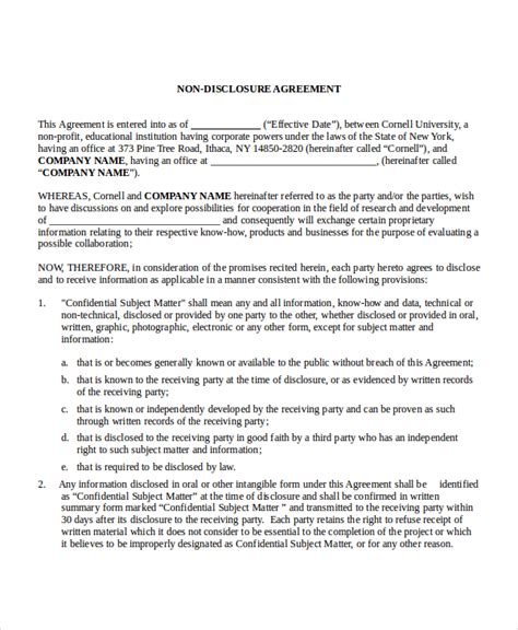 Free Non Disclosure Agreement Template by Non Disclosure Agreement Template 8 Free Word Pdf